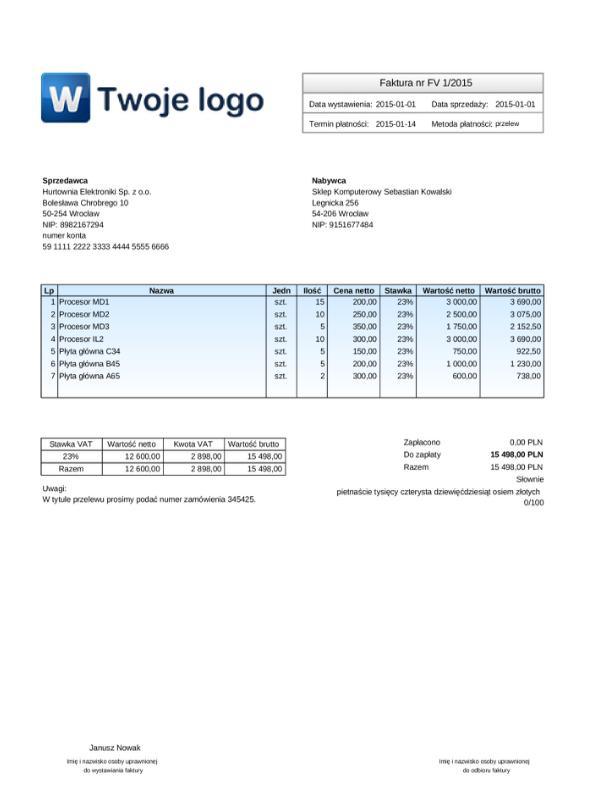 Szablony Faktur Sprzedaży Dostępne Wzory W Systemie Wfirmapl