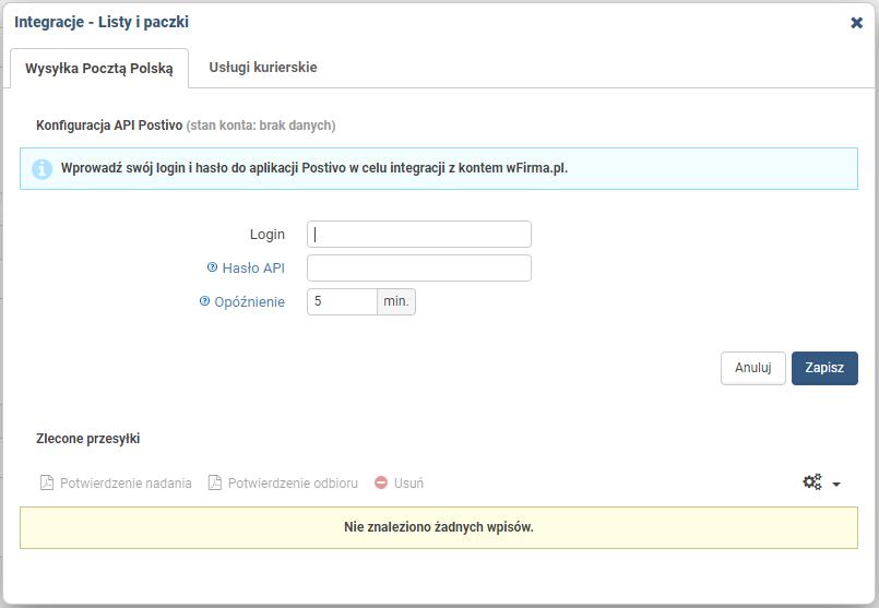 e0a52c806d6c8a Integracja z Postivo.pl - usługi poczty tradycyjnej - Pomoc wFirma.pl
