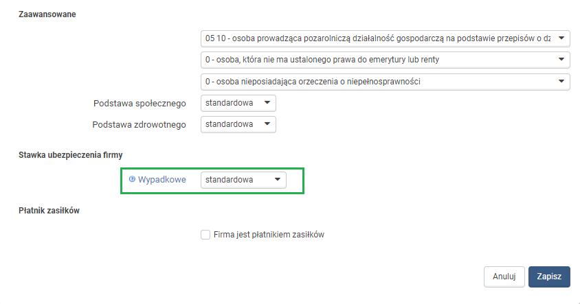Schemat składek ZUS w systemie wfirma pl - Pomoc wFirma pl