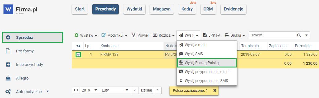 cd1fd179a0b4ed Wysyłanie wystawionej faktury do kontrahenta - Pomoc wFirma.pl