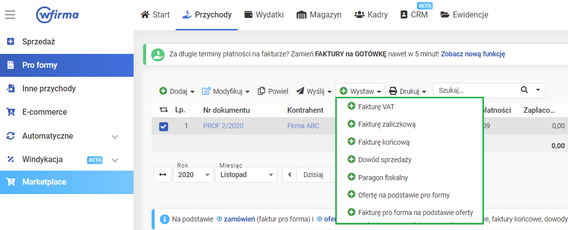 Faktura Pro Forma Online W Systemie Wfirma Pl